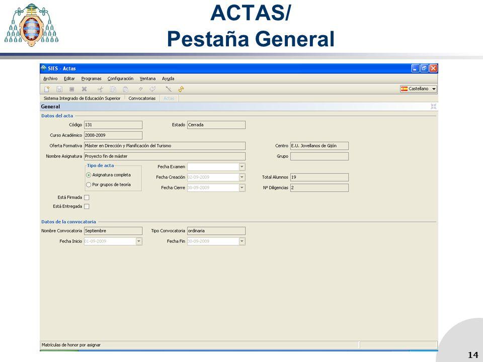ACTAS/ Pestaña General 14