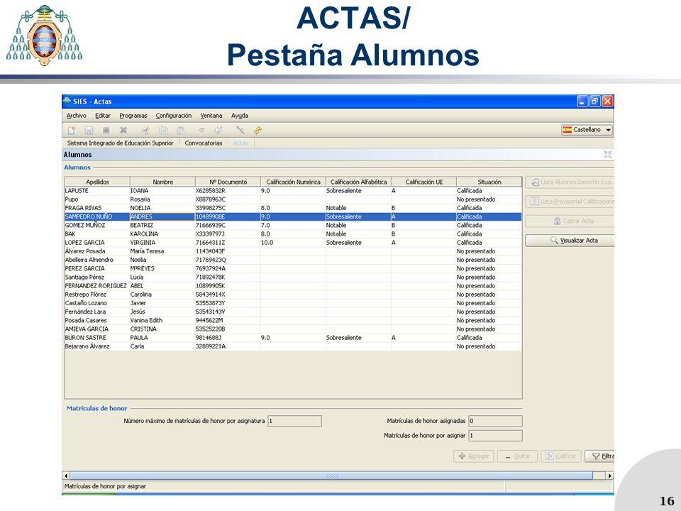 ACTAS/ Pestaña Alumnos 16