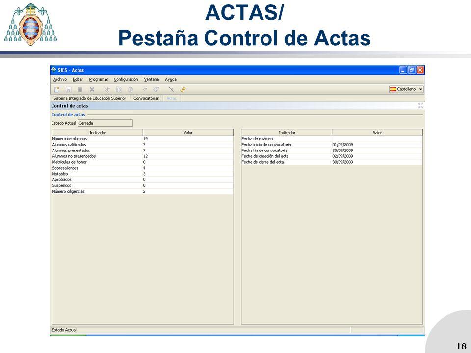 ACTAS/ Pestaña Control de Actas 18