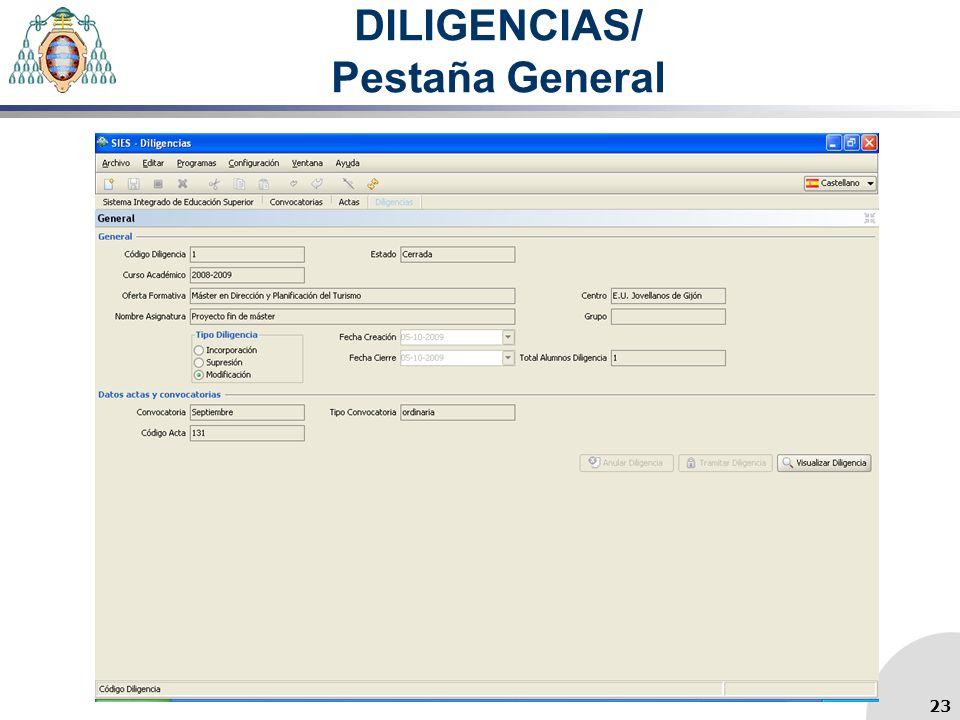 DILIGENCIAS/ Pestaña General 23