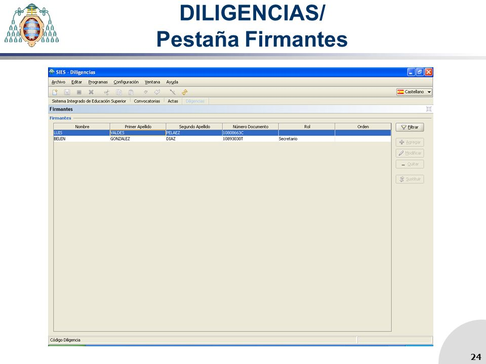 DILIGENCIAS/ Pestaña Firmantes 24