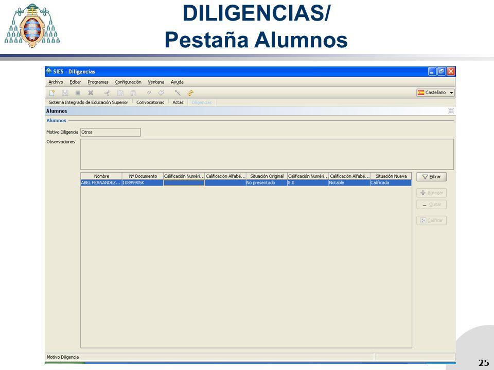 DILIGENCIAS/ Pestaña Alumnos 25