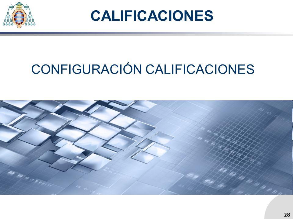 CALIFICACIONES CONFIGURACIÓN CALIFICACIONES 28