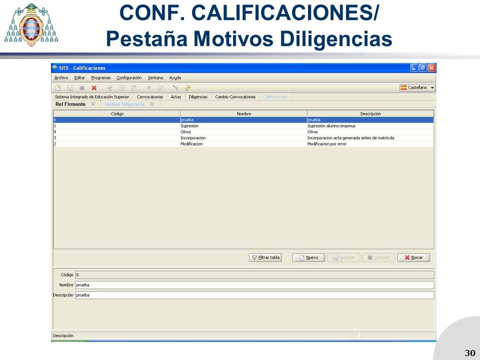 CONF. CALIFICACIONES/ Pestaña Motivos Diligencias 30