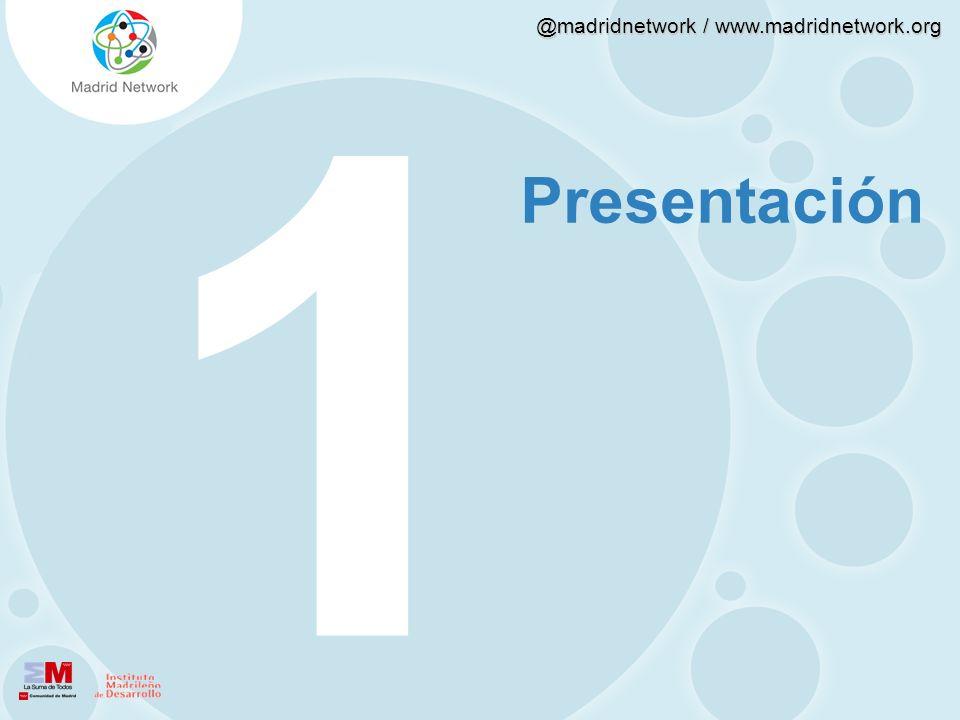 @madridnetwork / www.madridnetwork.org Heterogéneas: En el timeline conviven usuarios con los que se mantiene un vínculo de carácter más personal, como los amigos (60%) o, incluso, la pareja (15%) con aquellos otros con los el nexo es profesional, como los compañeros de trabajo (48%).