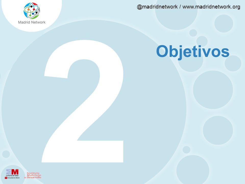 @madridnetwork / www.madridnetwork.org Objetivos El objetivo general de esta investigación es tratar de explicar cómo y por qué twitter se ha convertido en un referente de generación y difusión de la innovación.