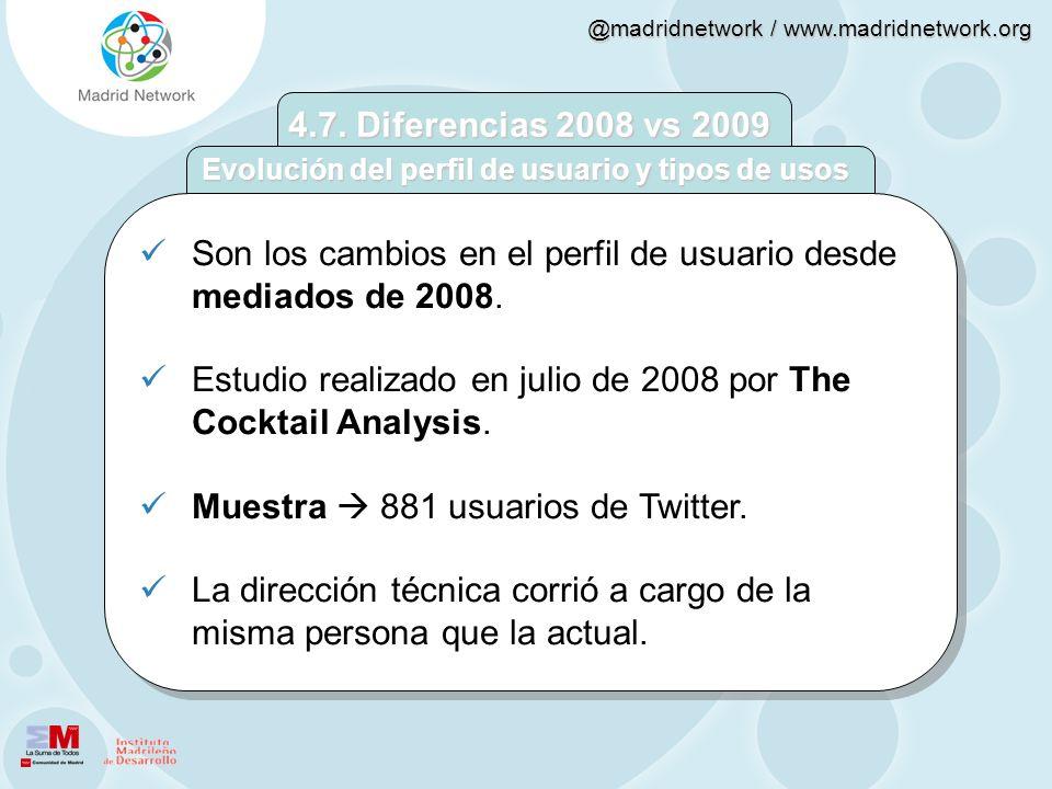 @madridnetwork / www.madridnetwork.org Son los cambios en el perfil de usuario desde mediados de 2008. Estudio realizado en julio de 2008 por The Cock
