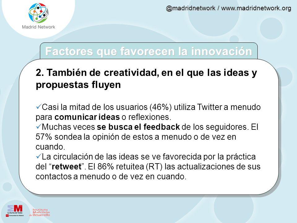 @madridnetwork / www.madridnetwork.org 2. También de creatividad, en el que las ideas y propuestas fluyen Casi la mitad de los usuarios (46%) utiliza