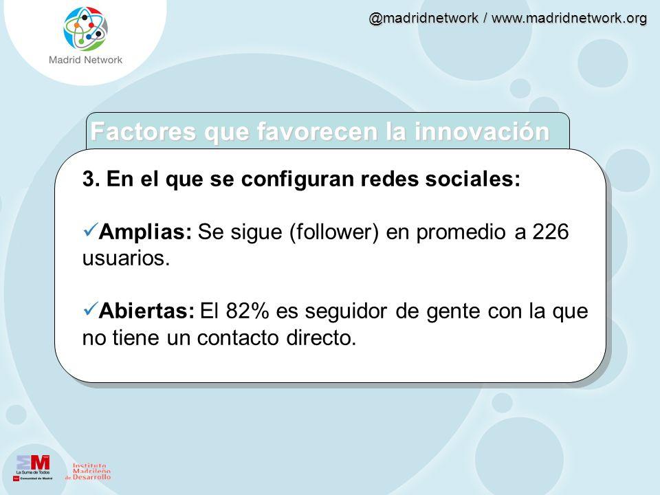 @madridnetwork / www.madridnetwork.org 3. En el que se configuran redes sociales: Amplias: Se sigue (follower) en promedio a 226 usuarios. Abiertas: E