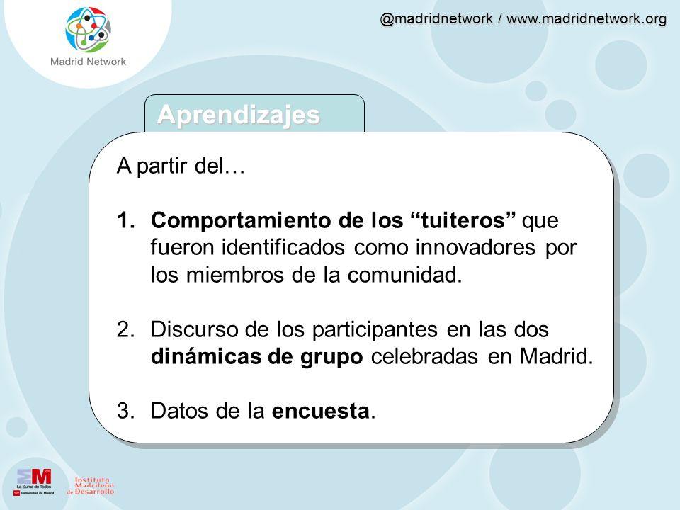 @madridnetwork / www.madridnetwork.org A partir del… 1.Comportamiento de los tuiteros que fueron identificados como innovadores por los miembros de la