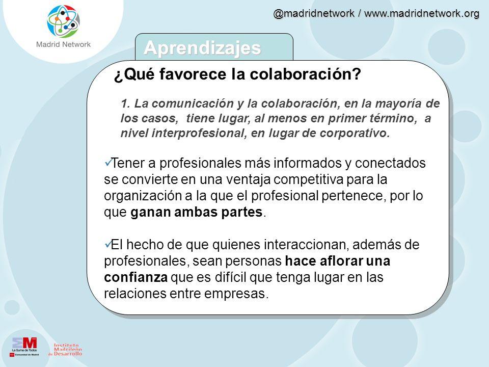@madridnetwork / www.madridnetwork.org 1. La comunicación y la colaboración, en la mayoría de los casos, tiene lugar, al menos en primer término, a ni