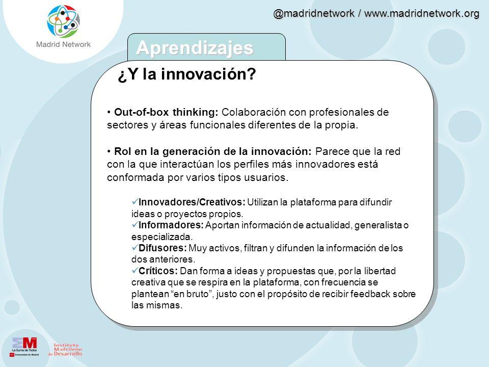 @madridnetwork / www.madridnetwork.org ¿Y la innovación? Out-of-box thinking: Colaboración con profesionales de sectores y áreas funcionales diferente