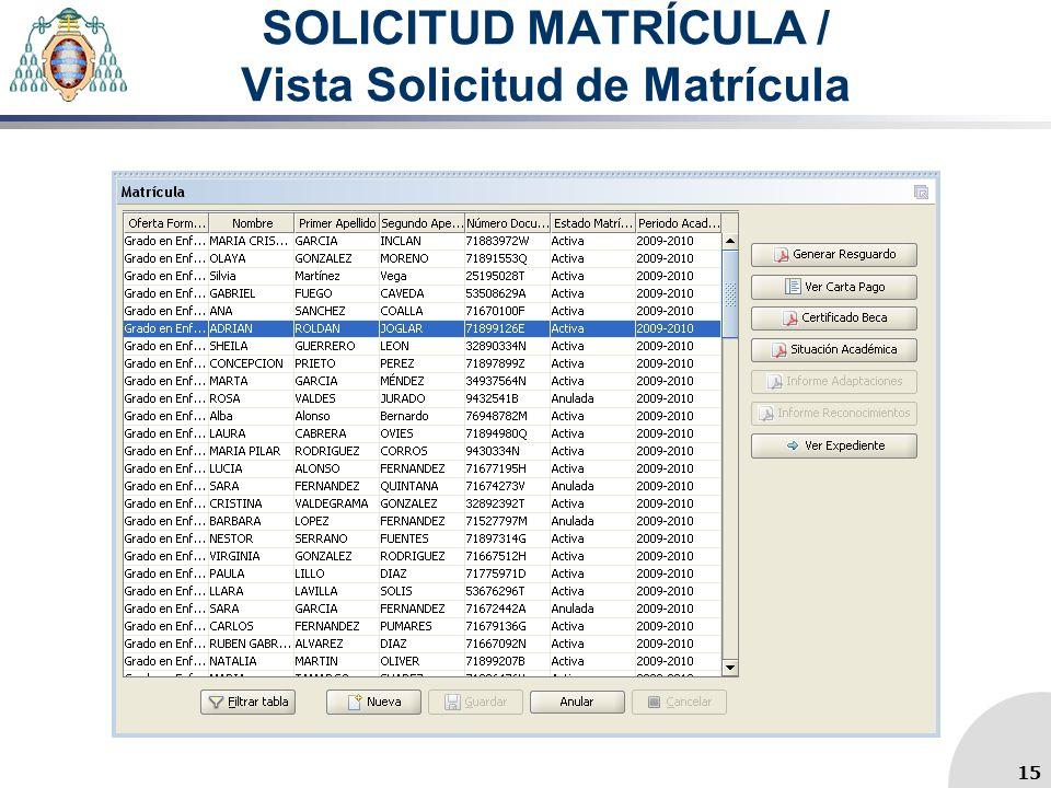 SOLICITUD MATRÍCULA / Vista Solicitud de Matrícula 15