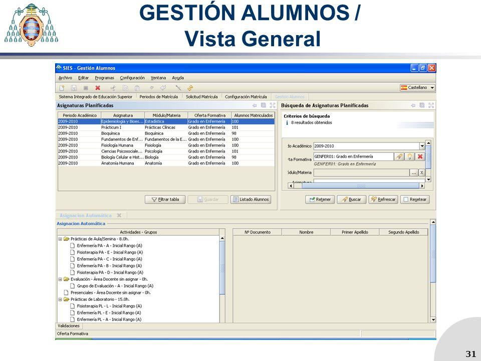 GESTIÓN ALUMNOS / Vista General 31