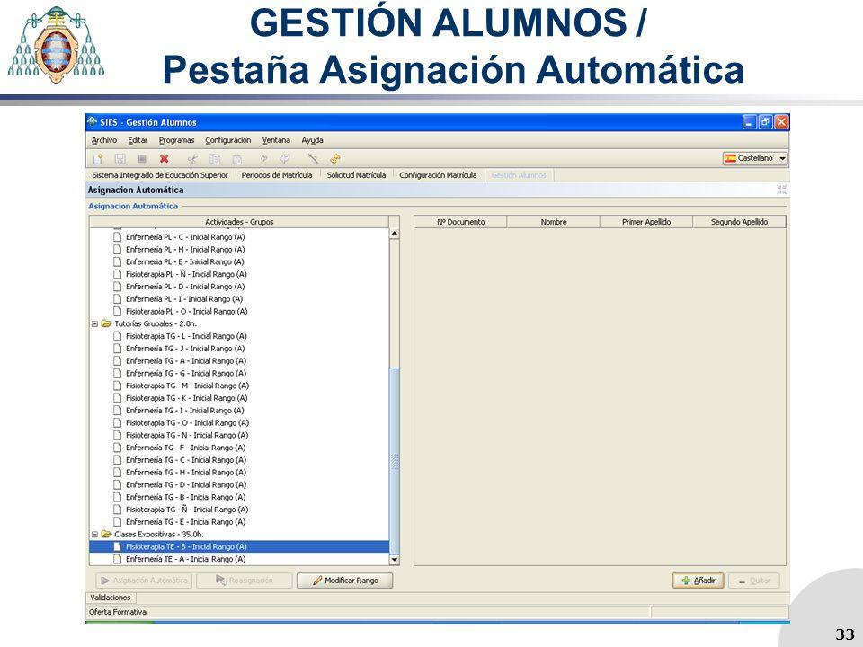 GESTIÓN ALUMNOS / Pestaña Asignación Automática 33