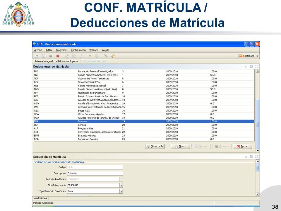 CONF. MATRÍCULA / Deducciones de Matrícula 38