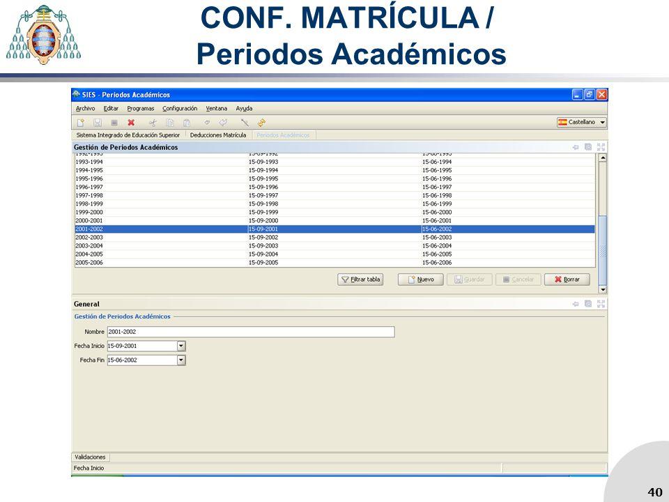 CONF. MATRÍCULA / Periodos Académicos 40