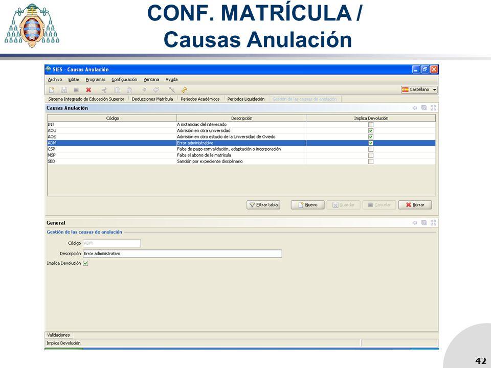 CONF. MATRÍCULA / Causas Anulación 42