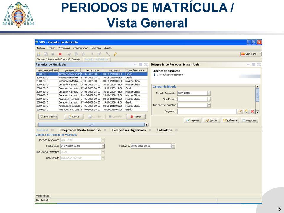 PERIODOS DE MATRÍCULA / Vista General 5