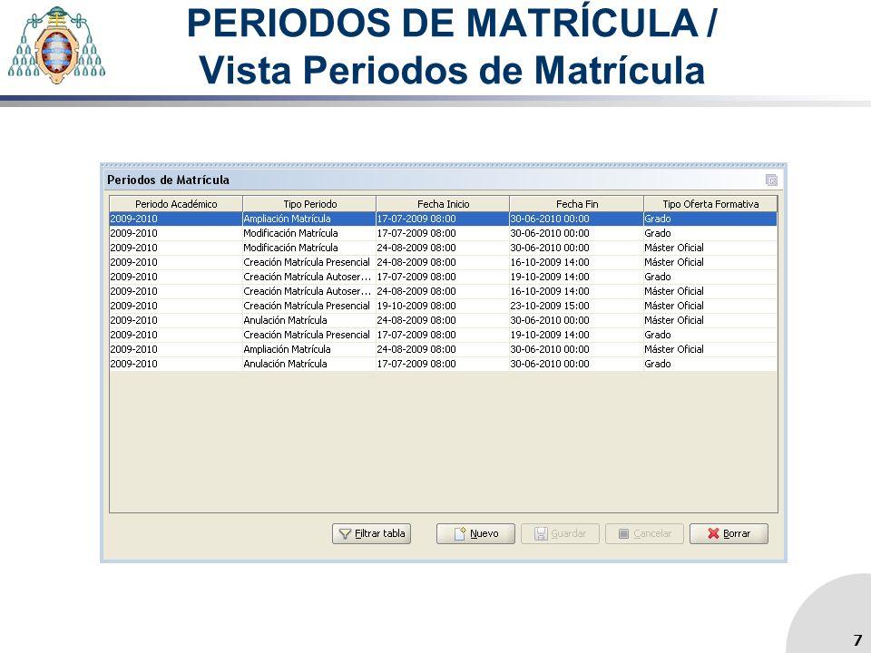PERIODOS DE MATRÍCULA / Vista Periodos de Matrícula 7