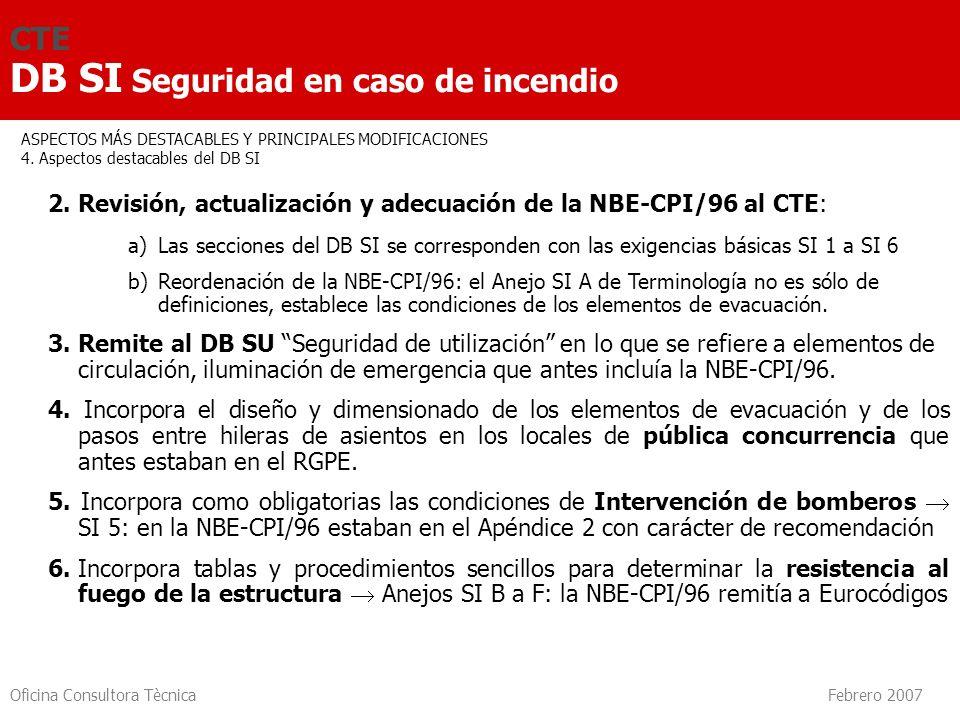 Oficina Consultora Tècnica Febrero 2007 CTE DB SI Seguridad en caso de incendio 2. Revisión, actualización y adecuación de la NBE-CPI/96 al CTE: a) La