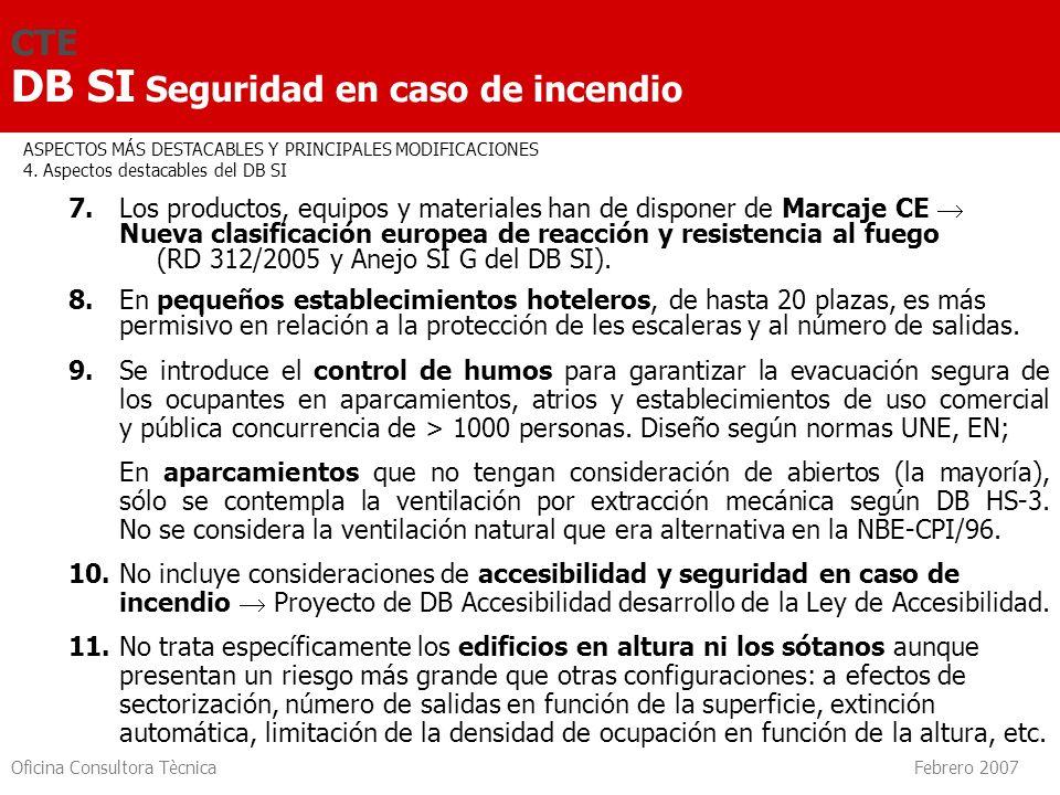 Oficina Consultora Tècnica Febrero 2007 CTE DB SI Seguridad en caso de incendio 7. Los productos, equipos y materiales han de disponer de Marcaje CE N