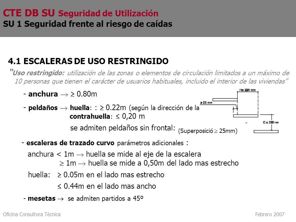 Oficina Consultora Tècnica Febrero 2007 4.1 ESCALERAS DE USO RESTRINGIDO Uso restringido: utilización de las zonas o elementos de circulación limitado