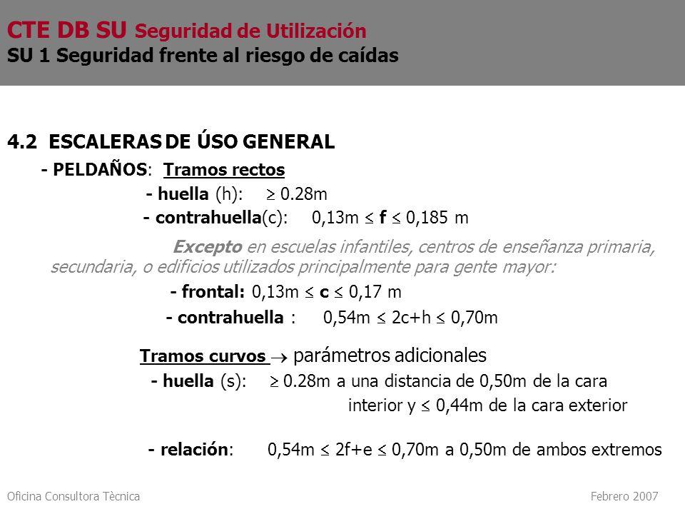Oficina Consultora Tècnica Febrero 2007 4.2 ESCALERAS DE ÚSO GENERAL - PELDAÑOS: Tramos rectos - huella (h): 0.28m - contrahuella(c): 0,13m f 0,185 m