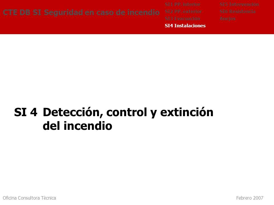Oficina Consultora Tècnica Febrero 2007 SI 4 Detección, control y extinción del incendio CTE DB SI Seguridad en caso de incendio SI5 Intervención SI6