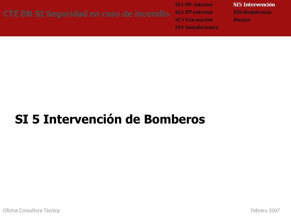 Oficina Consultora Tècnica Febrero 2007 SI 5 Intervención de Bomberos CTE DB SI Seguridad en caso de incendio SI5 Intervención SI6 Resistencia Anejos