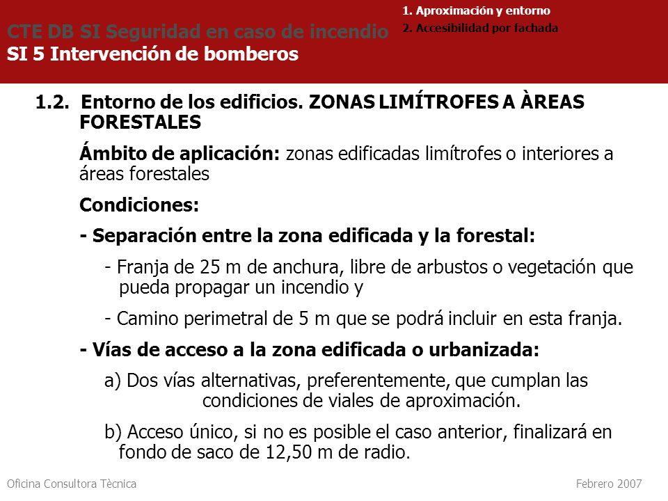 Oficina Consultora Tècnica Febrero 2007 1.2. Entorno de los edificios. ZONAS LIMÍTROFES A ÀREAS FORESTALES Ámbito de aplicación: zonas edificadas limí