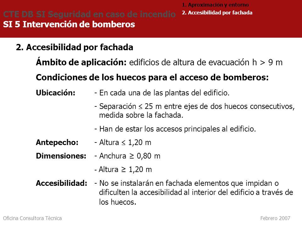 Oficina Consultora Tècnica Febrero 2007 2. Accesibilidad por fachada Ámbito de aplicación: edificios de altura de evacuación h > 9 m Condiciones de lo