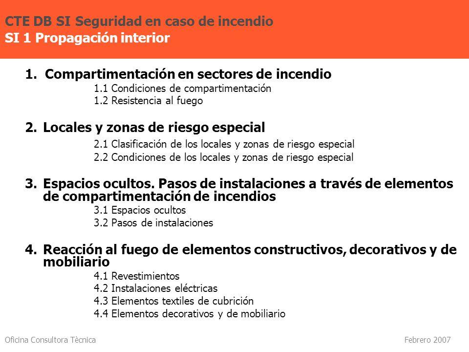Oficina Consultora Tècnica Febrero 2007 1. Compartimentación en sectores de incendio 1.1 Condiciones de compartimentación 1.2 Resistencia al fuego 2.L