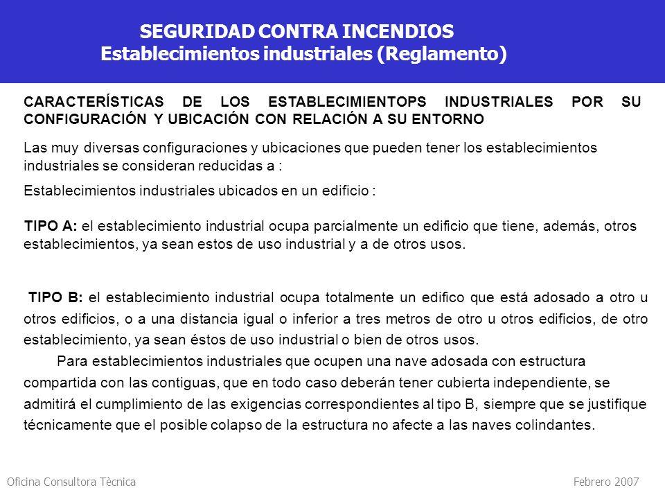 Oficina Consultora Tècnica Febrero 2007 SEGURIDAD CONTRA INCENDIOS Establecimientos industriales (Reglamento) CARACTERÍSTICAS DE LOS ESTABLECIMIENTOPS