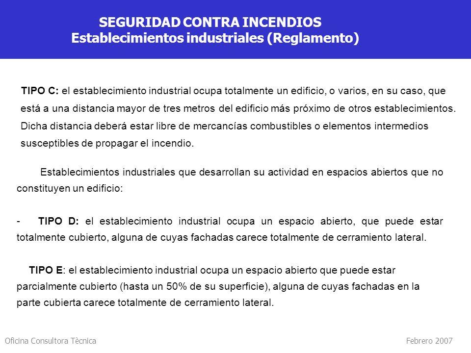 Oficina Consultora Tècnica Febrero 2007 SEGURIDAD CONTRA INCENDIOS Establecimientos industriales (Reglamento) Establecimientos industriales que desarr