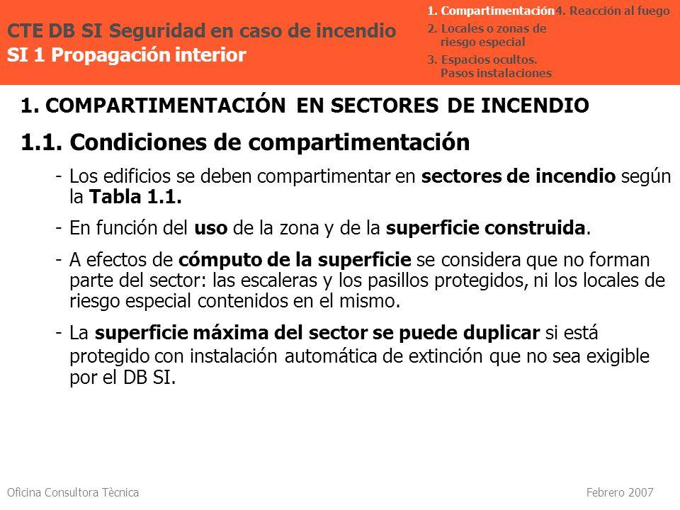 Oficina Consultora Tècnica Febrero 2007 1. COMPARTIMENTACIÓN EN SECTORES DE INCENDIO 1.1. Condiciones de compartimentación -Los edificios se deben com