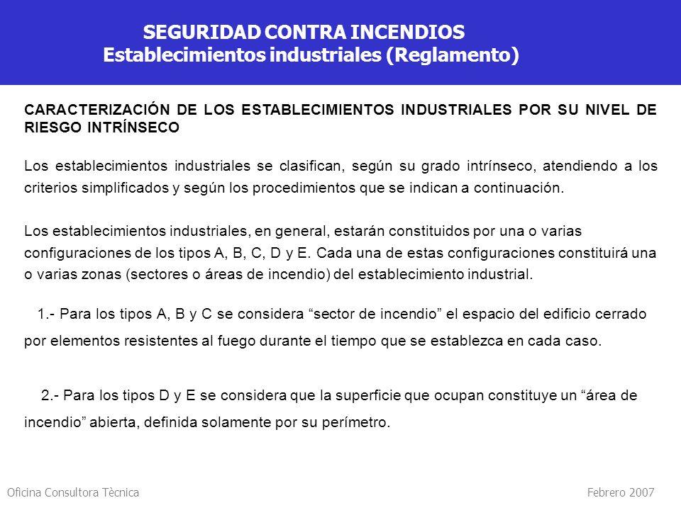 Oficina Consultora Tècnica Febrero 2007 SEGURIDAD CONTRA INCENDIOS Establecimientos industriales (Reglamento) CARACTERIZACIÓN DE LOS ESTABLECIMIENTOS