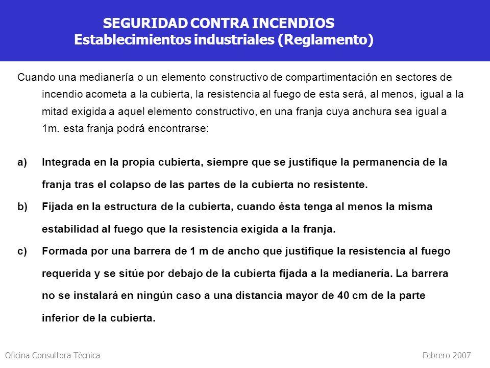 Oficina Consultora Tècnica Febrero 2007 SEGURIDAD CONTRA INCENDIOS Establecimientos industriales (Reglamento) Sectorización de los establecimientos in