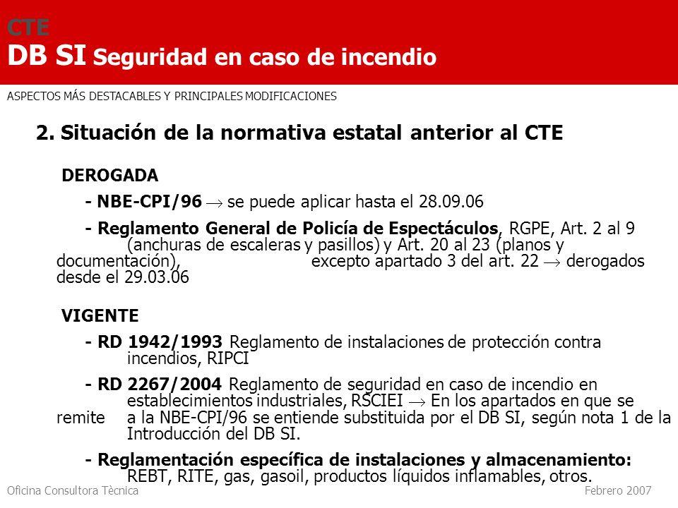 Oficina Consultora Tècnica Febrero 2007 CTE DB SI Seguridad en caso de incendio SI 3 Evacuación de ocupantes Número y longitud Dimensionado Señalización Control de humo Restricciones Cálculo de ocupación Elementos evacuación Compatibilidad 7.