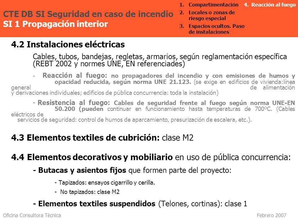 Oficina Consultora Tècnica Febrero 2007 4.2 Instalaciones eléctricas Cables, tubos, bandejas, regletas, armarios, según reglamentación específica (REB