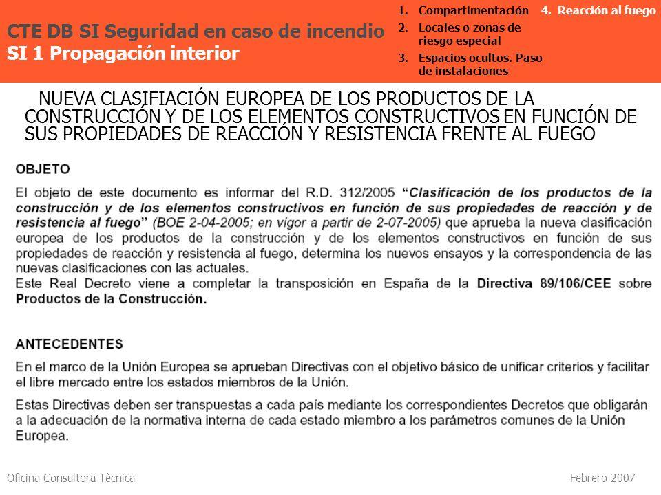 Oficina Consultora Tècnica Febrero 2007 NUEVA CLASIFIACIÓN EUROPEA DE LOS PRODUCTOS DE LA CONSTRUCCIÓN Y DE LOS ELEMENTOS CONSTRUCTIVOS EN FUNCIÓN DE