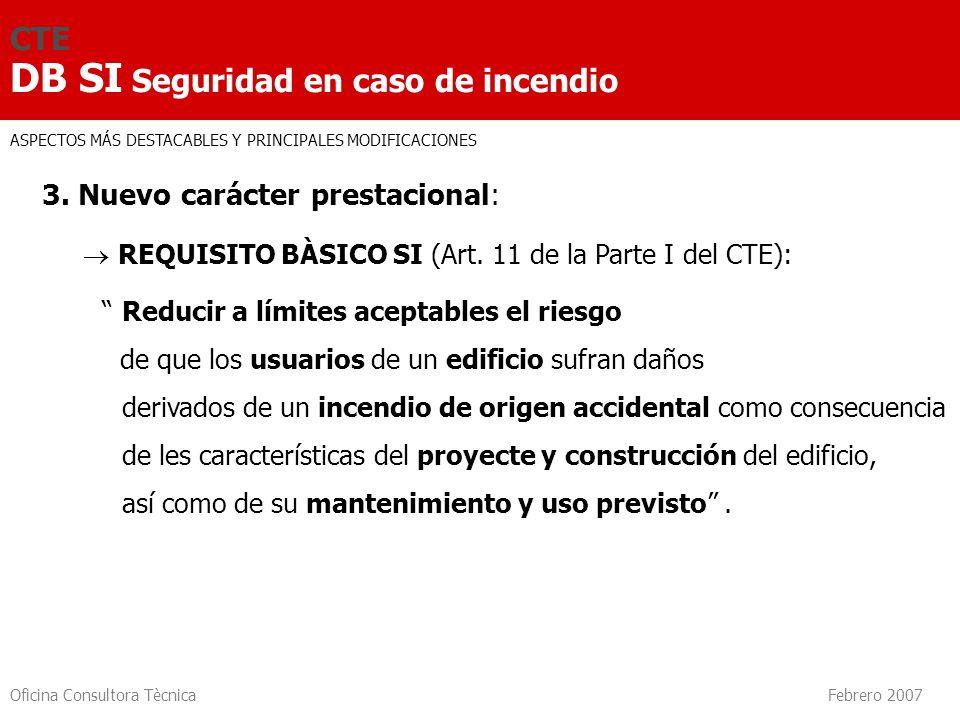 Oficina Consultora Tècnica Febrero 2007 CTE DB SI Seguridad en caso de incendio 3. Nuevo carácter prestacional: REQUISITO BÀSICO SI (Art. 11 de la Par