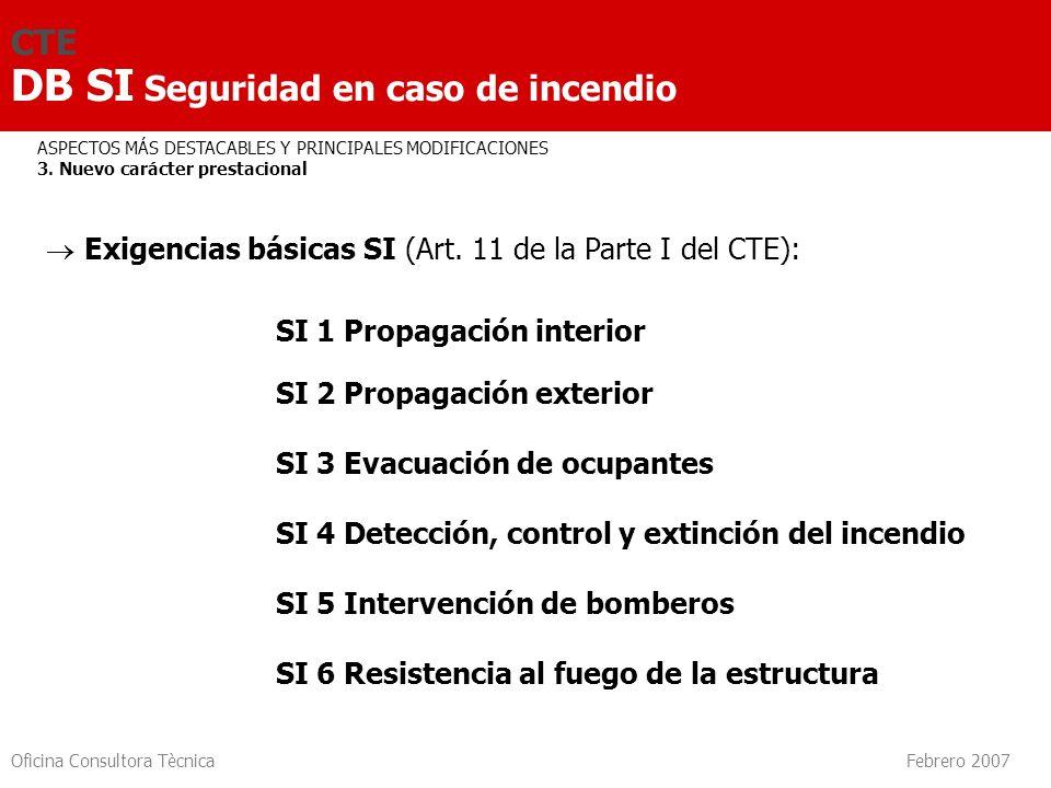 Oficina Consultora Tècnica Febrero 2007 3.7 Pasillos - PASILLOS PROTEGIDOS 3.8 Rampas 3.9 Escaleras - ESCALERA PROTEGIDA - ESCALERA ESPECIALMENTE PROTEGIDA - ESCALERA ABIERTA AL EXTERIOR - CONDICIONES DE PROTECCIÓN DE LAS ESCALERAS 3.10 Vestíbulo dindependencia 3.11 Ascensor de emergencia CTE DB SI Seguridad en caso de incendio SI 3 Evacuación de ocupantes Número y longitud Dimensionado Señalización Control de humo Restricciones Cálculo de ocupación Elementos evacuación Compatibilidad
