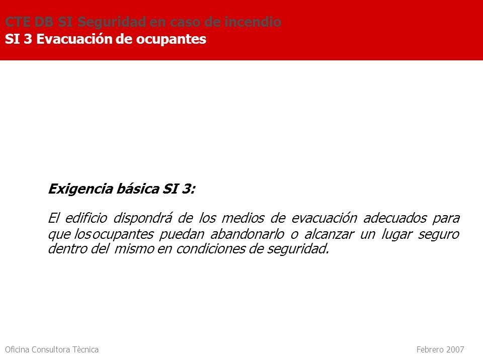 Oficina Consultora Tècnica Febrero 2007 Exigencia básica SI 3: El edificio dispondrá de los medios de evacuación adecuados para que losocupantes pueda