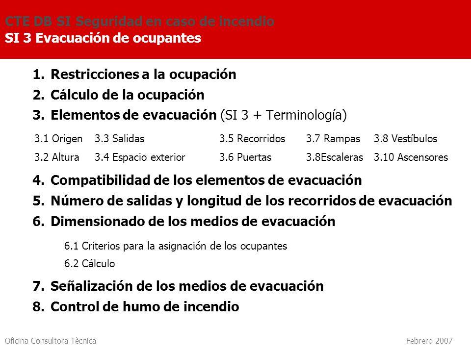 Oficina Consultora Tècnica Febrero 2007 1.Restricciones a la ocupación 2.Cálculo de la ocupación 3.Elementos de evacuación (SI 3 + Terminología) 4.Com