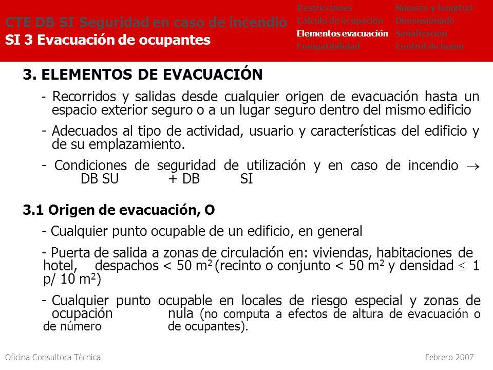 Oficina Consultora Tècnica Febrero 2007 3. ELEMENTOS DE EVACUACIÓN - Recorridos y salidas desde cualquier origen de evacuación hasta un espacio exteri