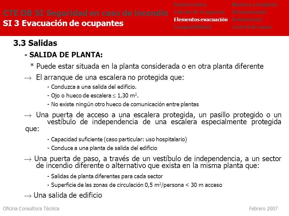 Oficina Consultora Tècnica Febrero 2007 3.3 Salidas - SALIDA DE PLANTA: * Puede estar situada en la planta considerada o en otra planta diferente El a