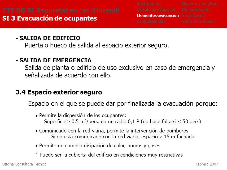 Oficina Consultora Tècnica Febrero 2007 CTE DB SI Seguretat en cas dincendi SI 3 Evacuación de ocupantes Número y longitud Dimensionado Señalización C