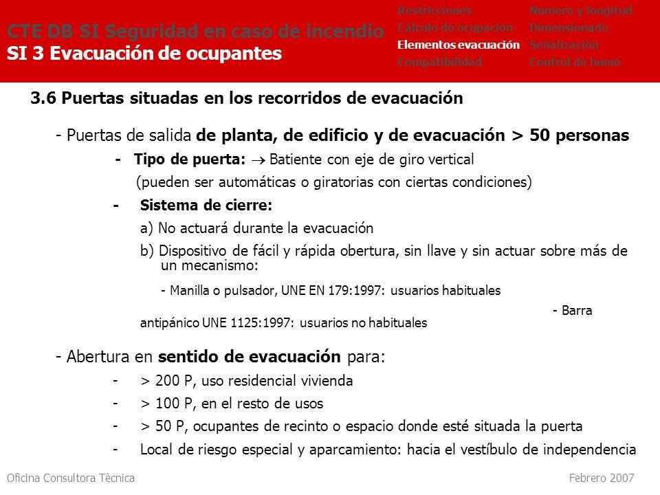 Oficina Consultora Tècnica Febrero 2007 3.6 Puertas situadas en los recorridos de evacuación - Puertas de salida de planta, de edificio y de evacuació
