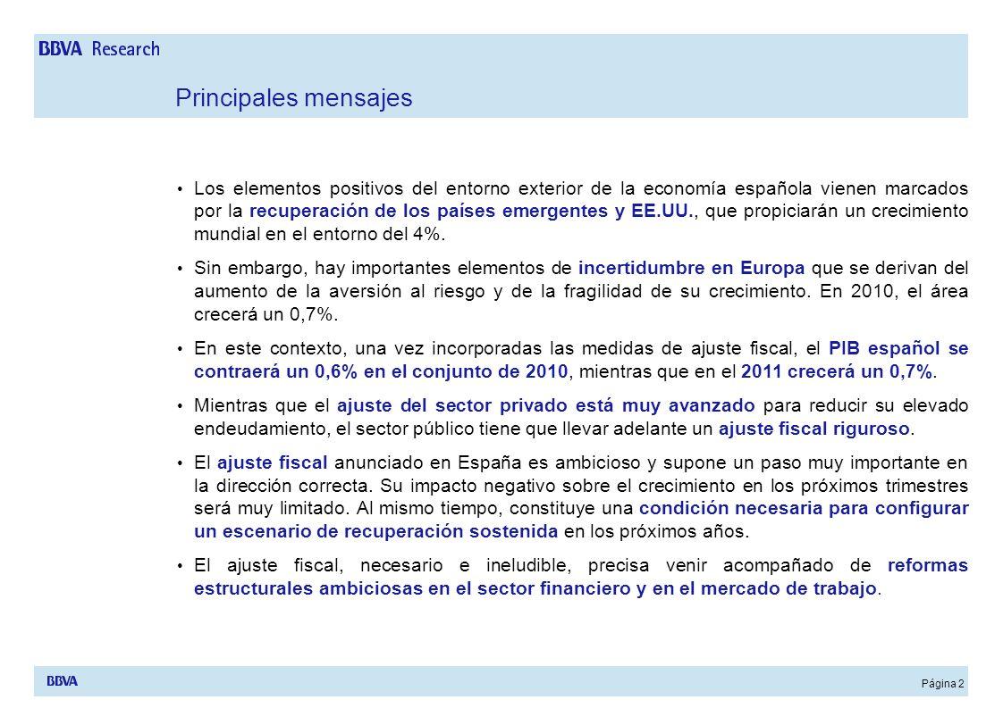 Página 2 Principales mensajes Los elementos positivos del entorno exterior de la economía española vienen marcados por la recuperación de los países e